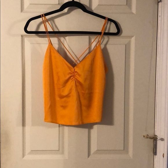Express Tops - NWT Orange tie back crop tank